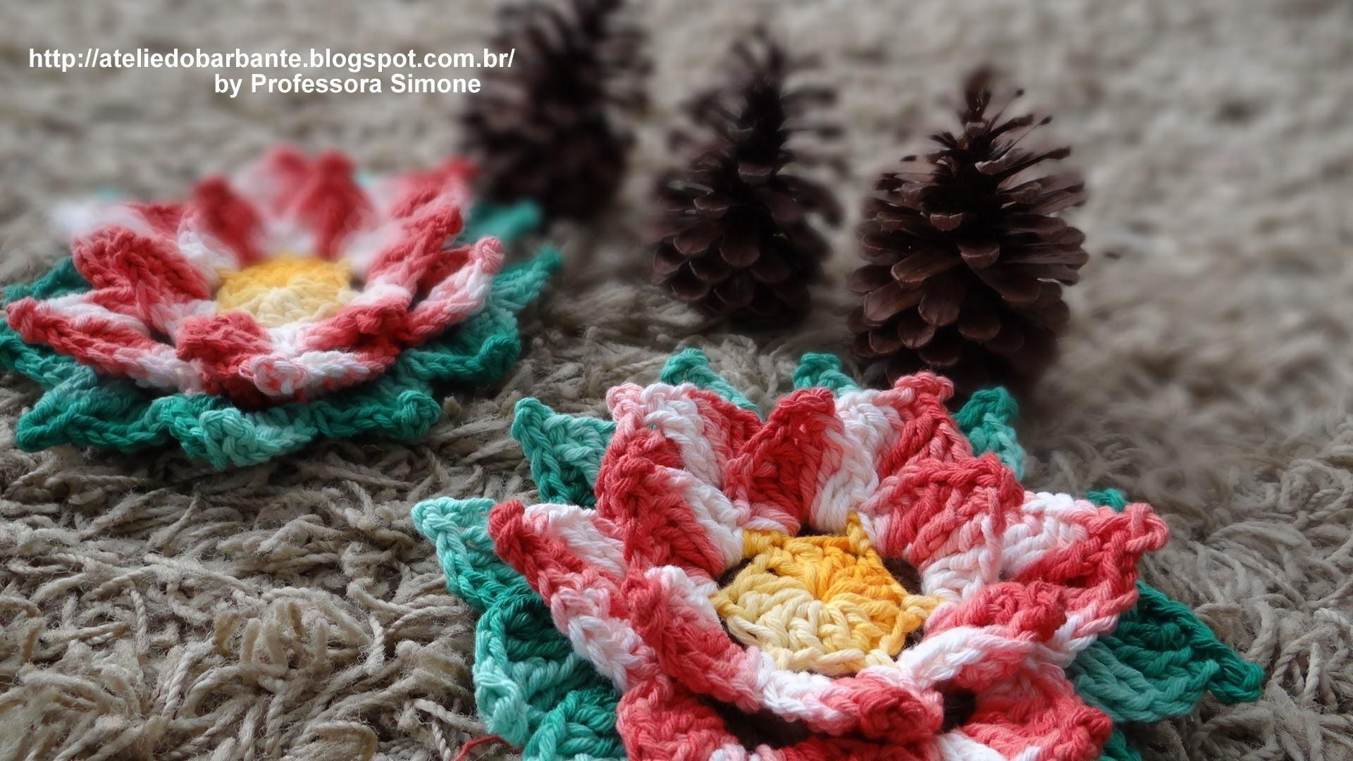Flor Natalina em Crochê parte-2