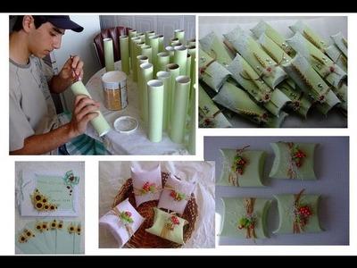 Lembrancinhas de chá de bebé batizado aniversario casamento com rolinho de papel higienico