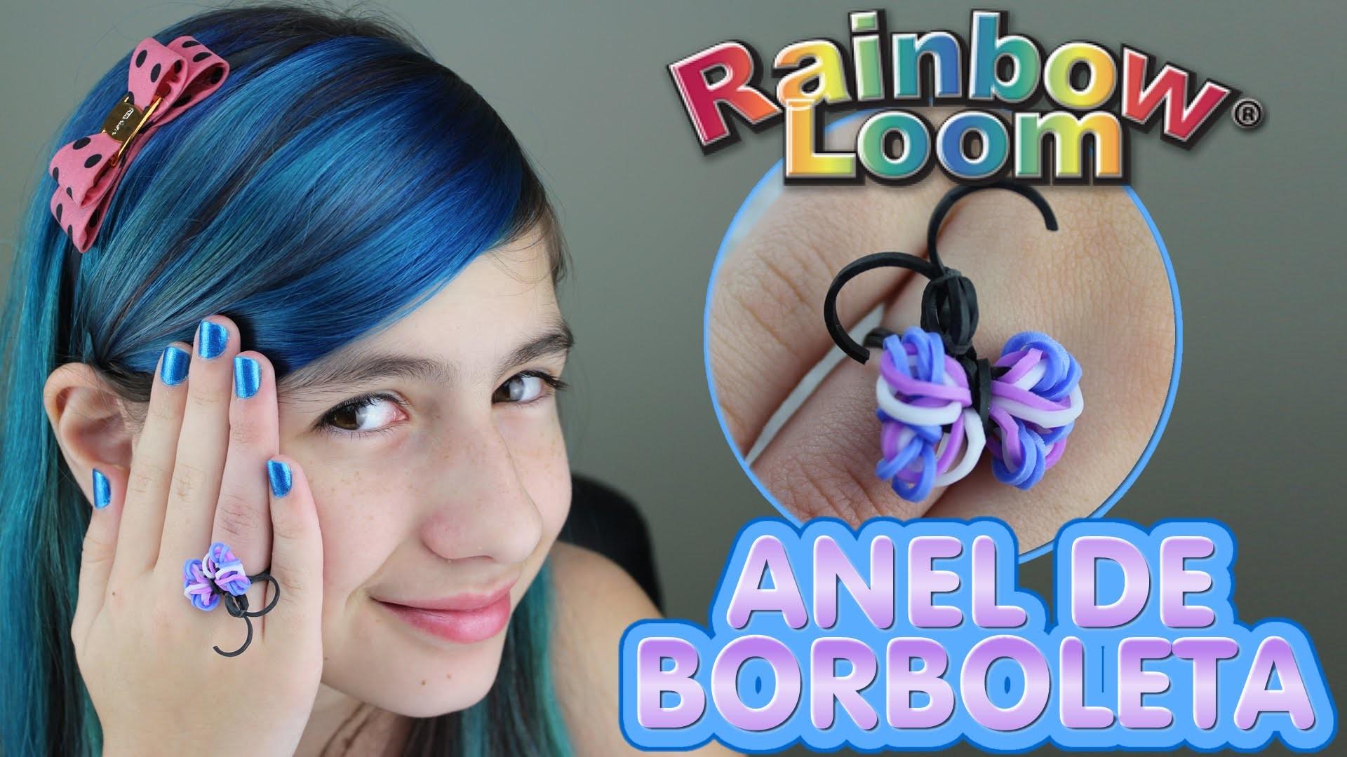 Anel Borboleta de Elásticos Rainbow Loom Ring Elastics