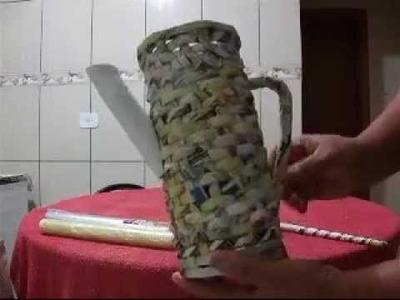 Bule (jarro) - artesanato com jornal(qualquer papel)
