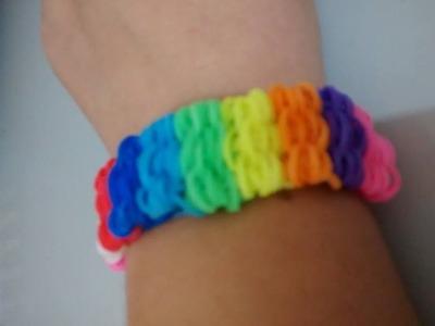 ♥ COM TEAR * Como fazer Pulseira com elástico passo a passo   Rainbow Loom   ♥