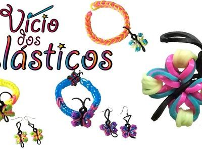 Como fazer borboletas de elásticos - Pulseira e Brincos - Rainbow Loom