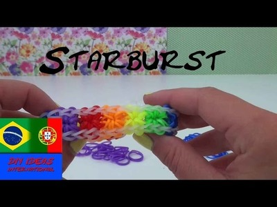 Pulseiras de elástico EXPLOSÃO DE ESTRELAS instrução em português com garfo - Starburst Loom