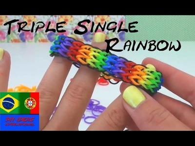 Como fazer pulseiras de elástico TRIPLE SINGLE com garfo Rainbow Loom Bands em portugues