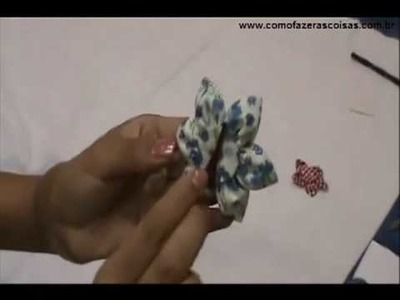 Como fazer uma flor de tecido usando fuxico - parte 5