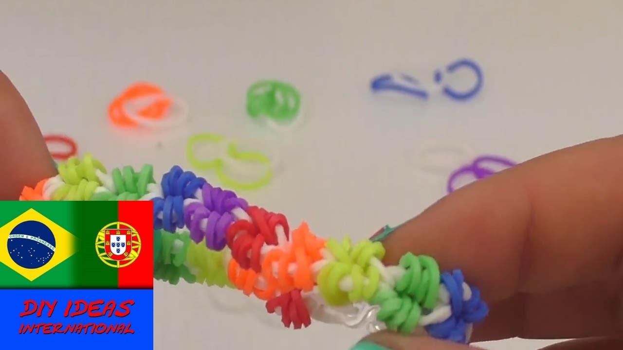 Como fazer uma pulseira de mini estrelas com elásticos Rainbow Loom