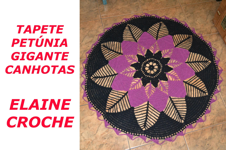 CROCHE PARA CANHOTOS - LEFT HANDED CROCHET - TAPETE PETÚNIA GIGANTE CROCHÊ CANHOTAS