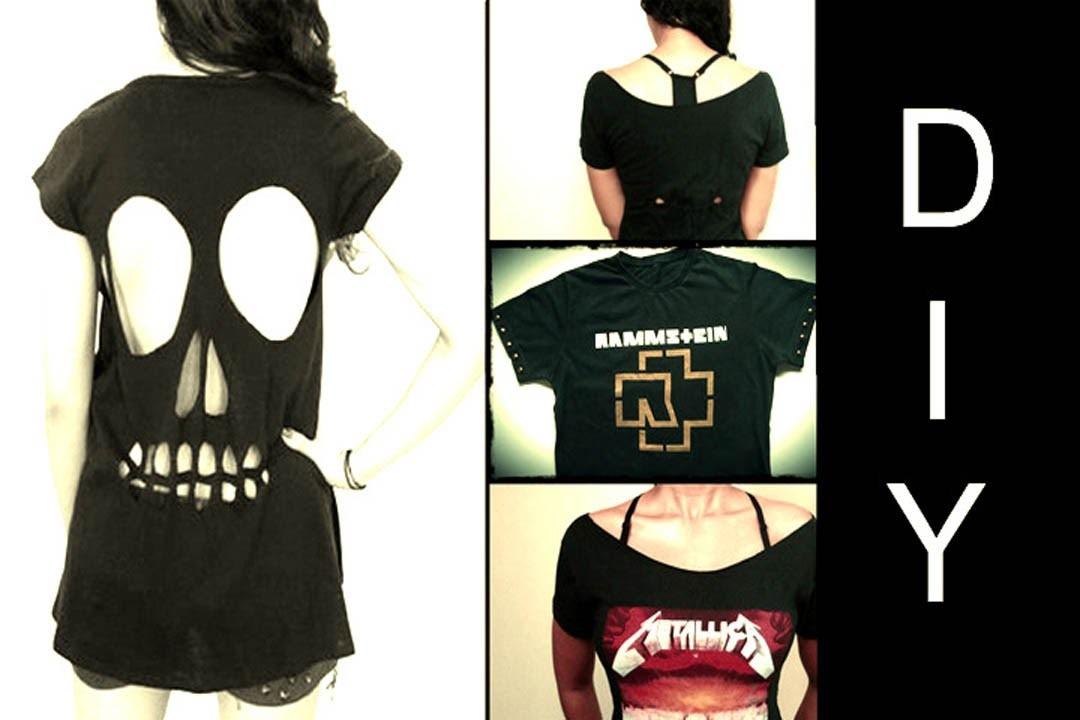 DIY: 3 Ideias de Como Customizar Camisetas de Banda (Skull Cut Out T-shirt)