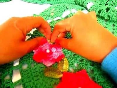 Como aplicar flores e folhas no tapete em crochê