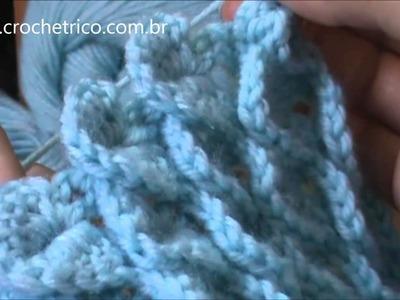 Crochê - Gola em Ponto Escama - Parte 02.02