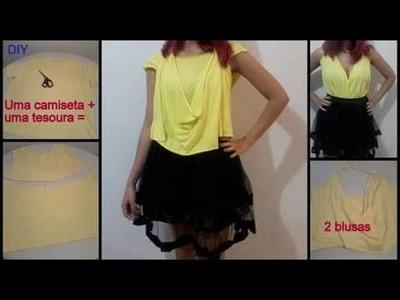 DIY: como transformar 1 camiseta masculina em 2 blusas