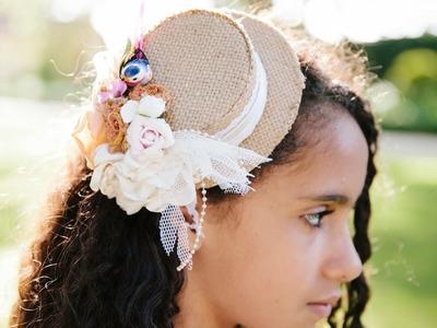 """DIY: Faça voce mesma um lindo e charmoso """"mini chapeu vintage"""" Estilo Casquete"""