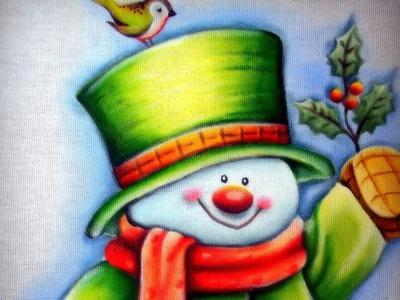 Pintando Boneco de Neve - Parte 1.2 - Pintura em Tecido