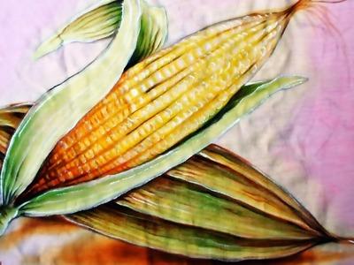 Pintando Espigas de Milho - Pintura em Tecido