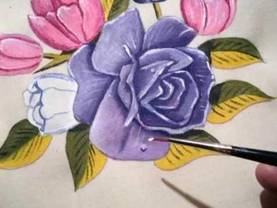 Pintando flores em tecidos. Aulas grátis