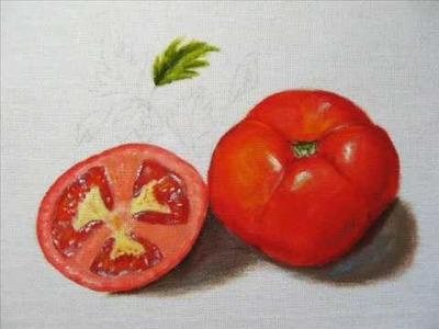 Pintura em tecido - Como pintar tomate passo a passo