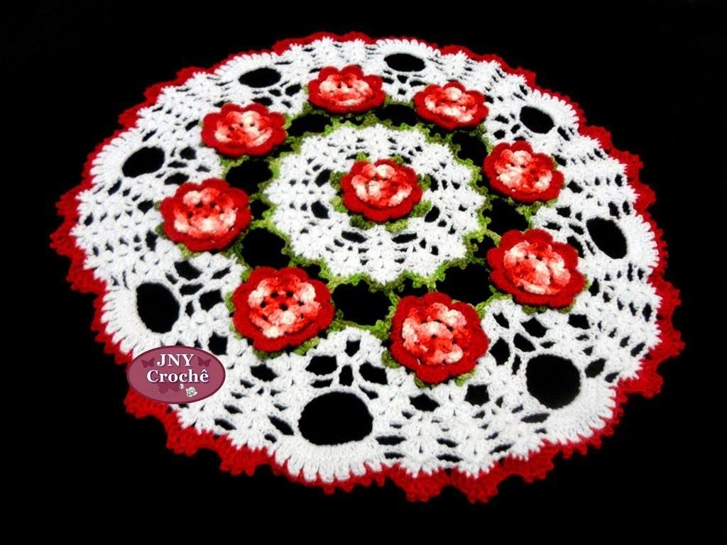 Toalha de mesa de crochê Flores Vermelhas por JNY Crochê