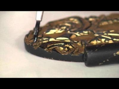 Aprenda a fazer um lindo colar de cerâmica plástica com textura de folha de ouro!