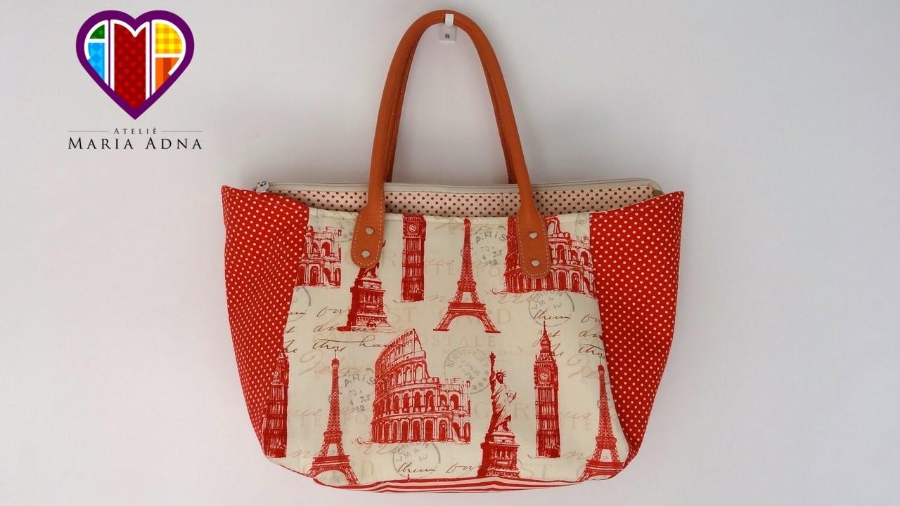 Bolsa sacola com necessaire Europa - Maria Adna Ateliê - Aula de bolsa sacola necessaire em tecidos