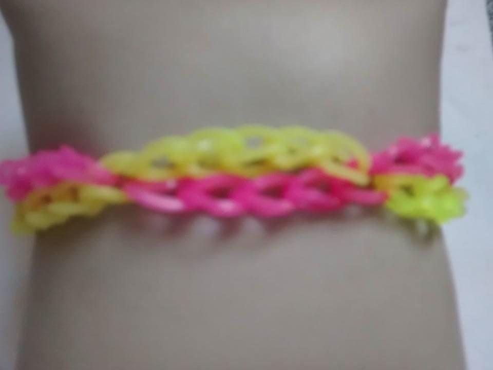 ♥  Como fazer Pulseira com elástico passo a passo   Rainbow Loom  (sem tear) ♥
