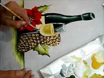 Como pintar Champanhe e Pinhas -  Painting Christmas