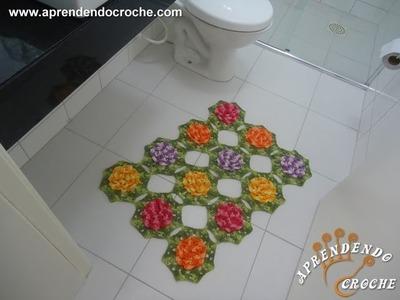 Tapete Pia - Jogo de Banheiro Crochê Rasteirinhas