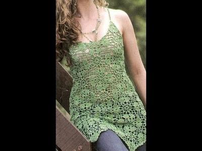 Verde Largo Calado a Crochet