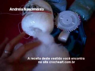 Video aula vestido de boneca de croche parte 1