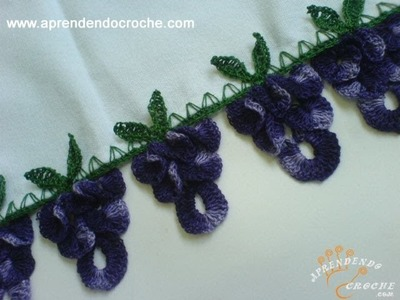 Barrado de Croche Uvas - 2º Parte - Aprendendo Crochê
