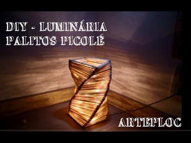 DIY - Luminária em espiral de palitos de picolé - Spiral lamp of popsicle sticks