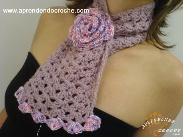 Gola Croche Roses - 2º Parte -  Aprendendo Crochê