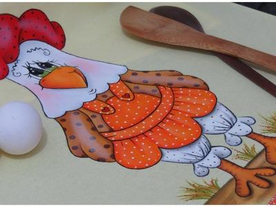 Pintura em tecido - A Galinha Fifi esta pronta!!!! parte 3 final