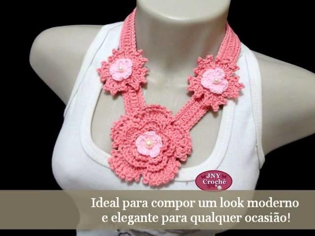 Colar de crochê Flores Vários modelos por JNY Crochê