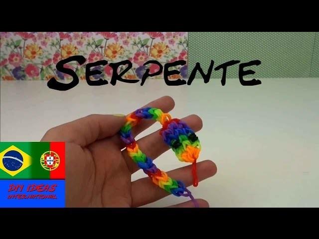 Como fazer SERPENTE feita de elásticos portugues. chaveiros com animais Rainbow Loom Snake Charm
