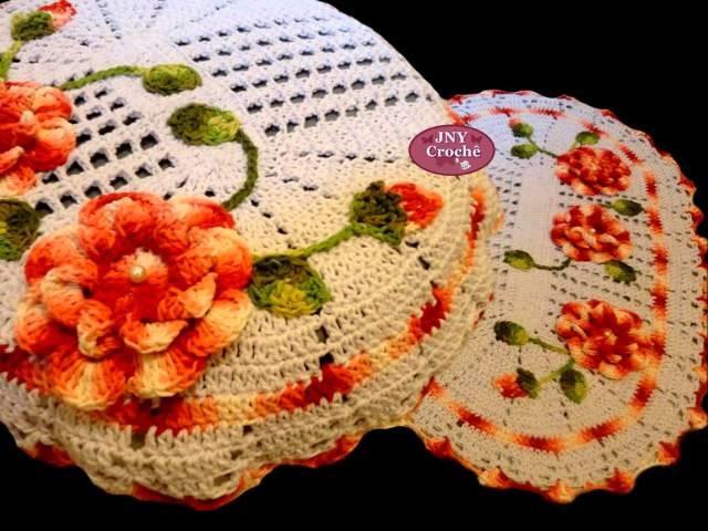 Jogo de Banheiro de Crochê MegaFloral por JNY Crochê