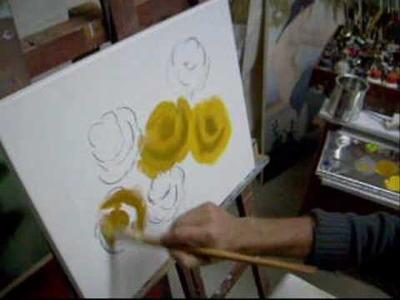 (Aula 01. 5) Video aula pintura em tela rosas Marcio Monteiro