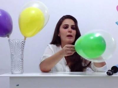 Como colocar um balão dentro do outro - decorações de balões. bexigas