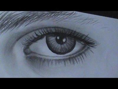 Desenho de um olho com detalhes