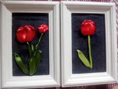 Reciclando quadro com flores de cetim - Tulipas