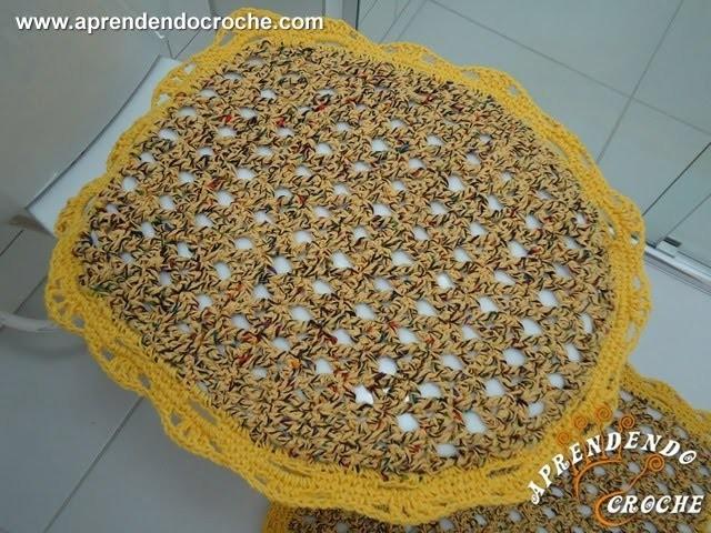 Capa Tampa do Vaso Firenze - 1º Parte - Jogo de Banheiro em Croche