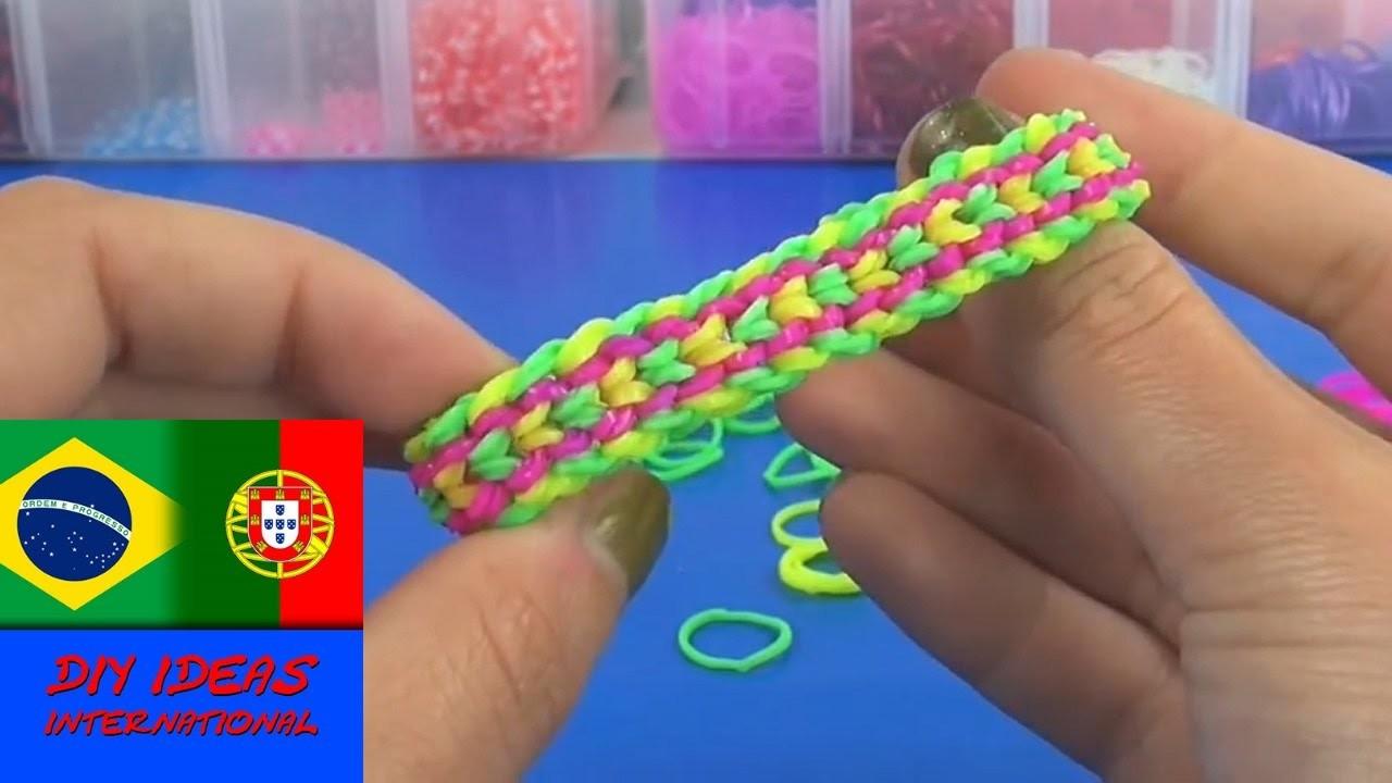 Como fazer pulseira de elásticos Rainbow Loom dupla escama de dragão tutorial
