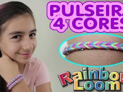 Como Fazer Pulseira Elásticos Rainbow Loom Trançada 4 Cores (Colorida, Elastics )