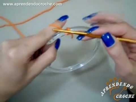 Como revestir argola com croche - Aprendendo Crochê