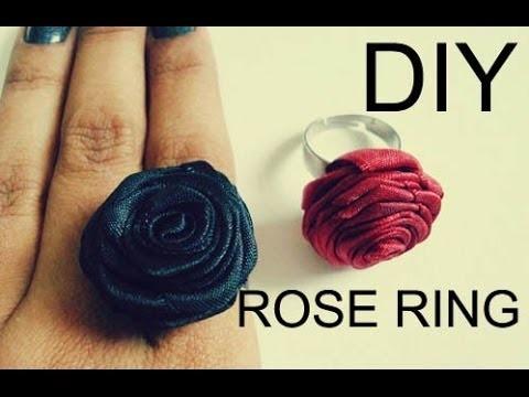 DIY: Como Fazer um Anel de Rosa com Fita de Cetim ✿ (Ribbon Rose Ring)