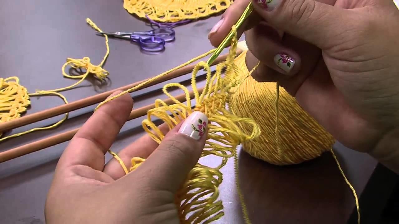 Mulher.com 24.11.2014 - Blusa Amarela Croche de Grampo por Eliete Massi - Parte 1