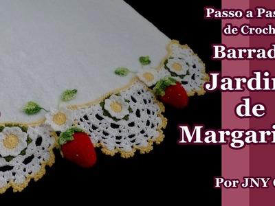 Passo a Passo de Crochê Mega Barrado Jardim de Margaridas por JNY Crochê