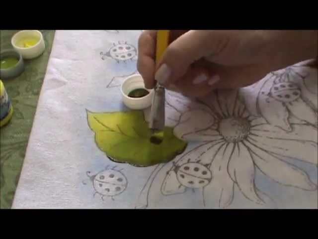 Pintura em Tecido para Iniciantes Flores e Folhas Parte I.wmv