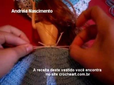 Video aula vestido de boneca de croche parte 5