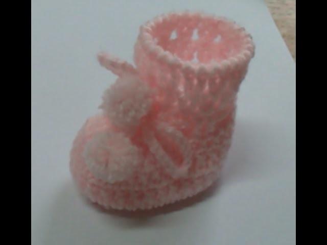 Botinha Bebê em Crochê - pontos Caranguejo e Trançado - Récem-nascido 1 - Graça Tristão