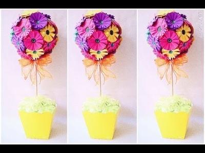 Como fazer flor de papel + topiaria